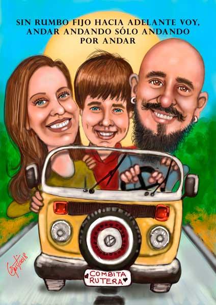 La familia de viaje